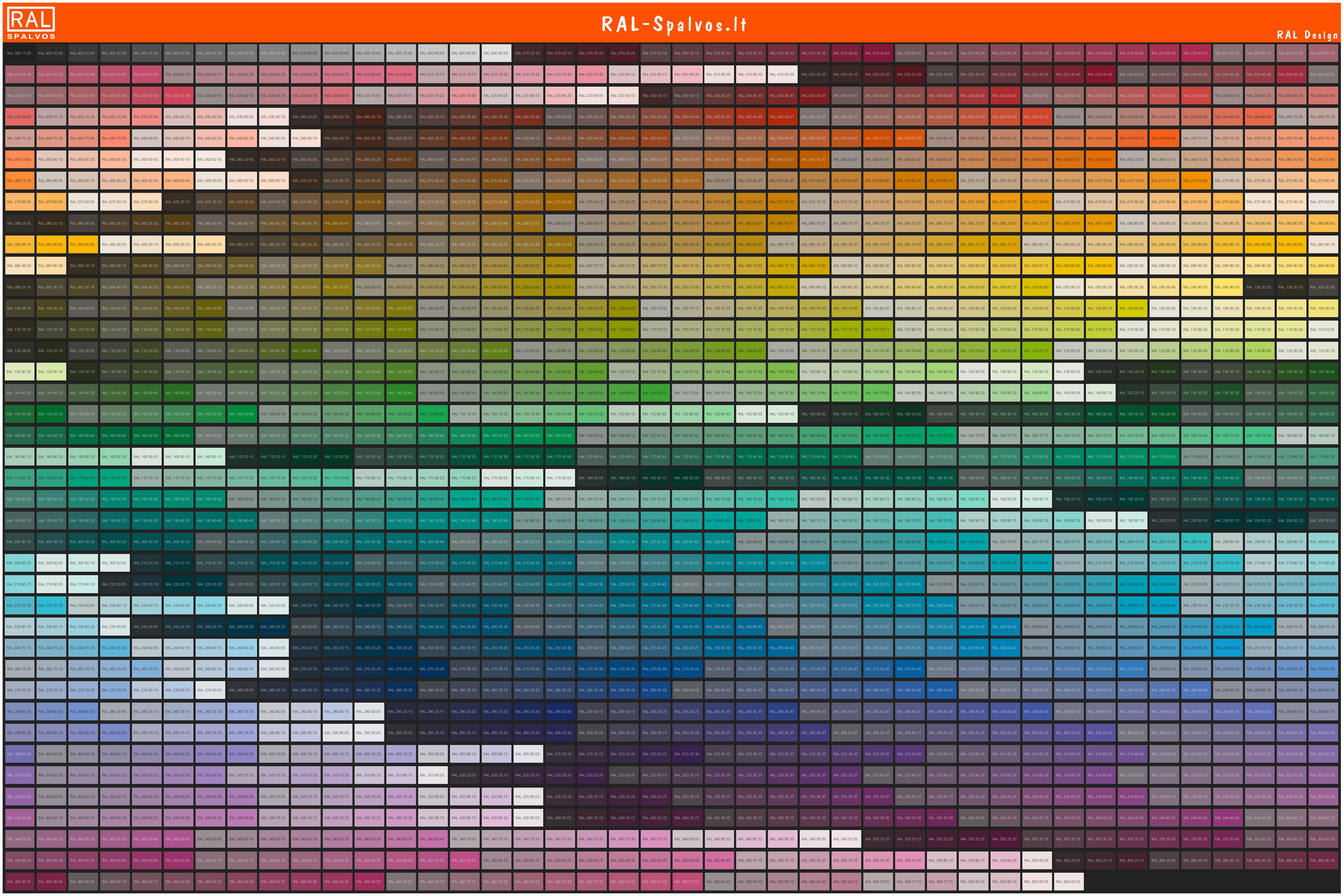 RAL Design spalvų paletė