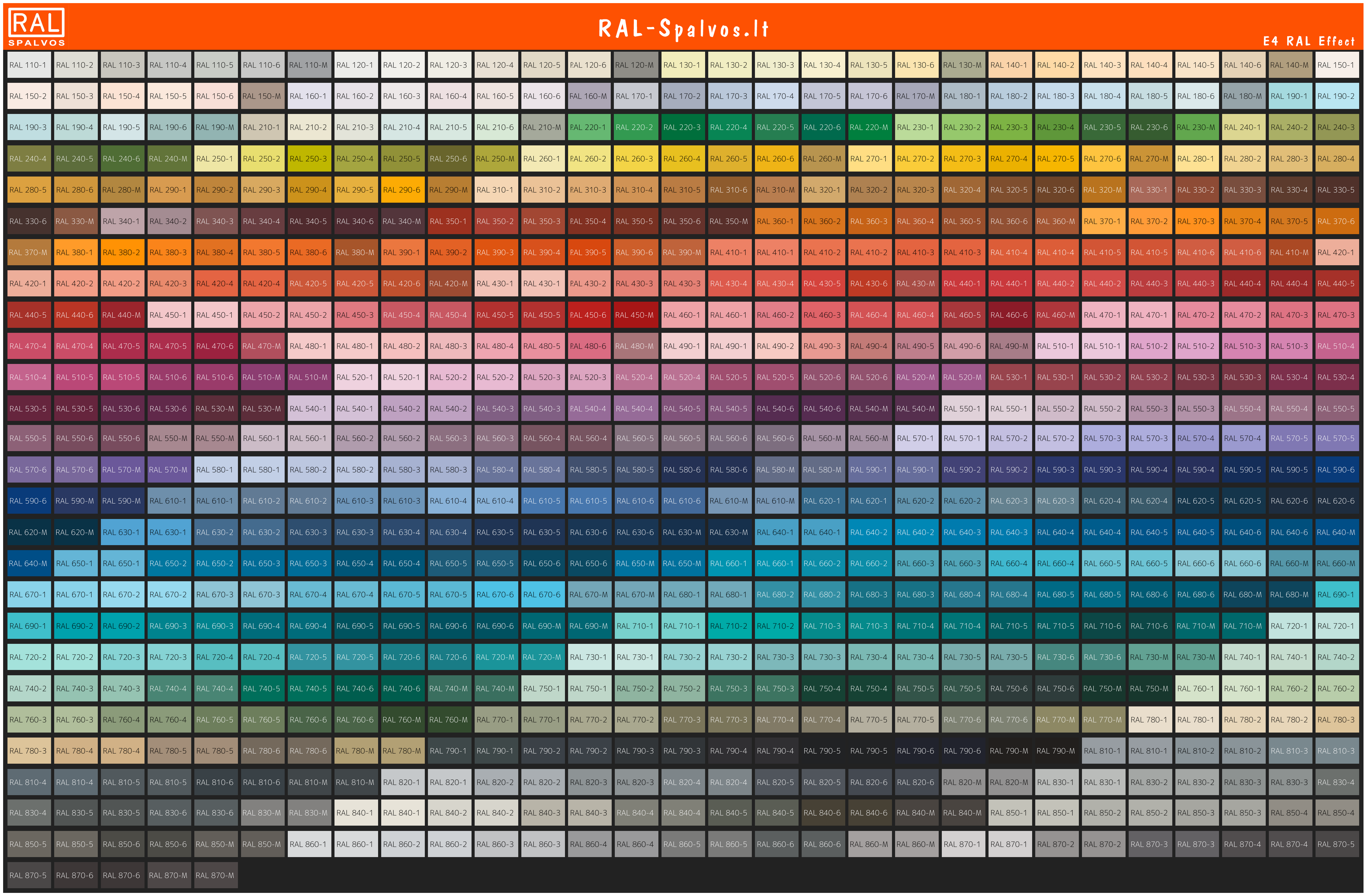 E4 RAL Effect metallic spalvų rinkinys
