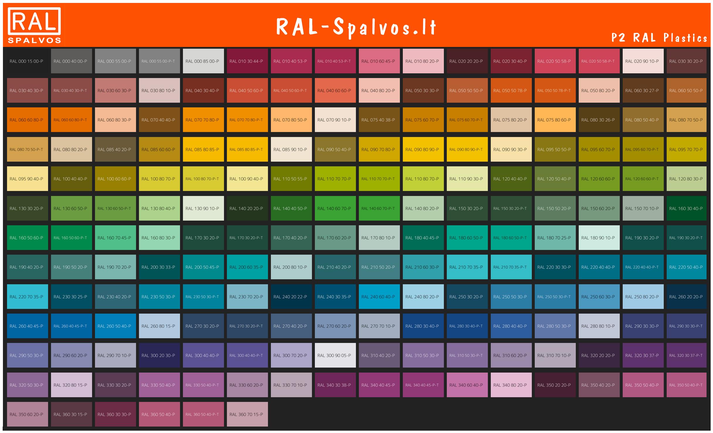 RAL Plastics P2 spalvų katalogas